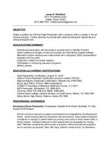 flight paramedic description for resume flight paramedic resume robillard