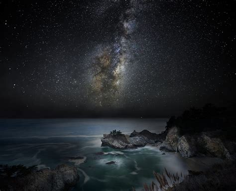 Nature Landscape Waterfall Beach Sea Milky Way