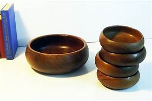 Wood Salad Bowls - Set of Vintage Wooden Rustic Teak