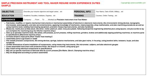 instrument fitter resumes sles and templates