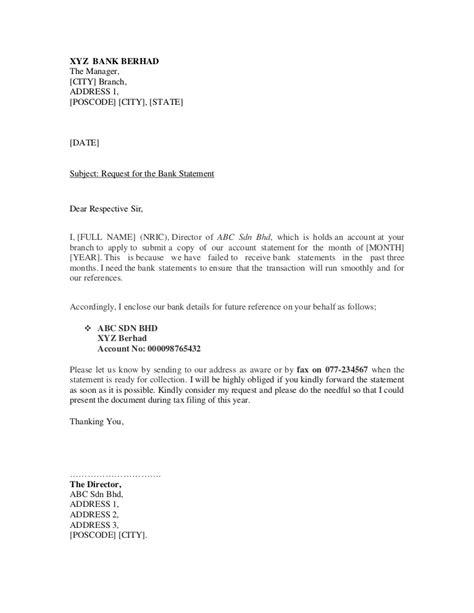 sample letter  bank statement request
