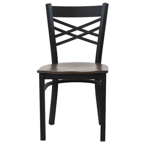 black metal x back chair with wood seat