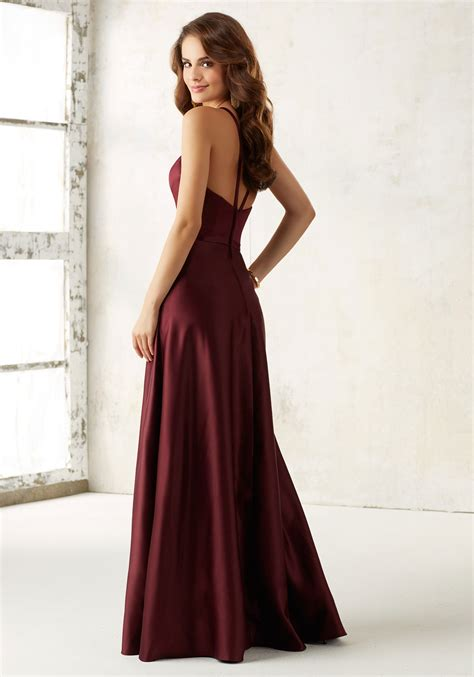 mori lee style no 21517 sleek satin bridesmaid dress