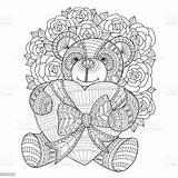 Coloring Teddy Bear Adult Heart Drawn Hand Hugging Illustration Abstract sketch template