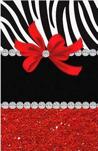 zebra - red glitter with diamond accents and bow ...