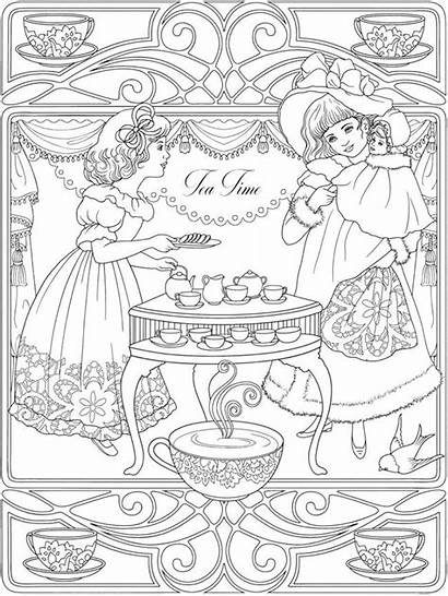 Coloring Dover Publications Haven Creative Tea 塗り絵