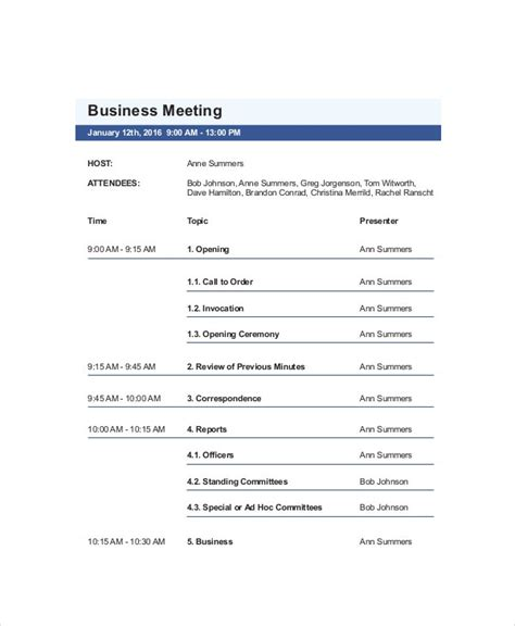 business meeting agenda templates  sample