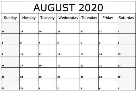 august  calendar printable printable calendar