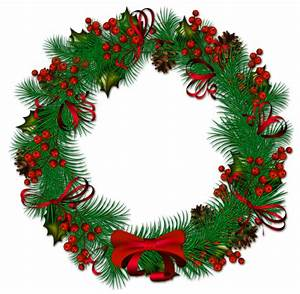 transparent christmas pinecone wreath with red ribbon ...