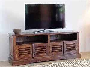 Meuble Tv Ethnique : meuble tv bali 2 niches 4 portes teck massif ~ Teatrodelosmanantiales.com Idées de Décoration