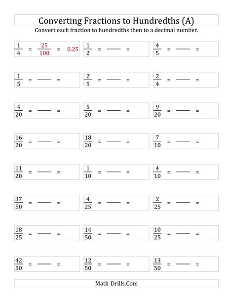 the converting fractions to hundredths a fractions worksheet
