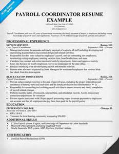payroll coordinator resume template payroll coordinator resume sle resumecompanion money resume sles across all
