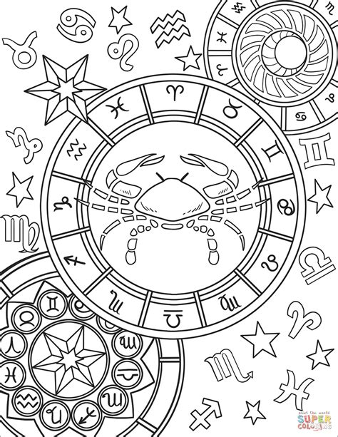 cancer zodiac sign coloring page  printable coloring