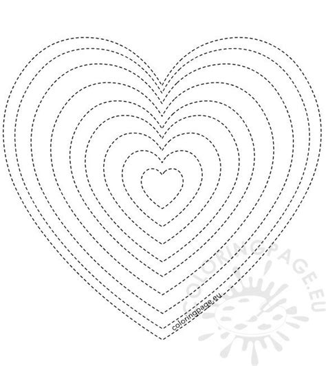 valentines day  sizes heart template coloring page