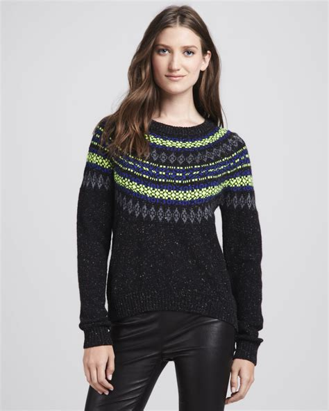 fair isle sweater womens milly speckled fair isle sweater in black black multi lyst
