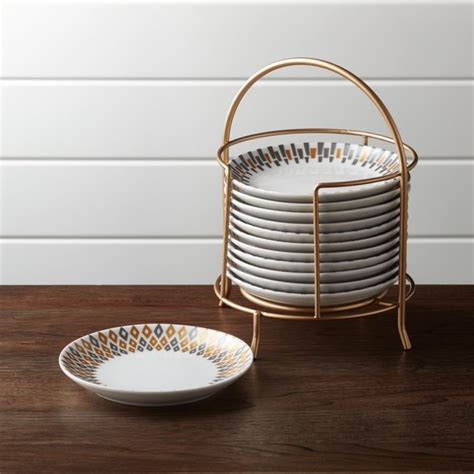 metallic plates  stand set   crate  barrel