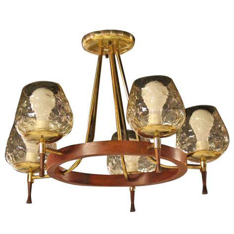 Midcentury Danish Modern, Fivelight Champagne Chandelier