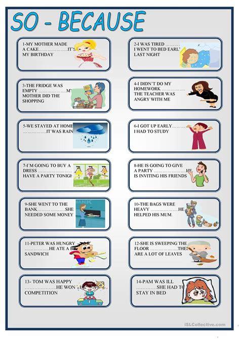 So  Because Worksheet  Free Esl Printable Worksheets Made By Teachers