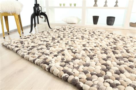 felted wool rug pebbles handmade rug design 1821 in mix camel objects