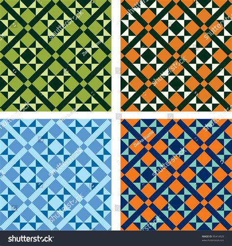 design patterns of four vector geometric pattern in four color variations