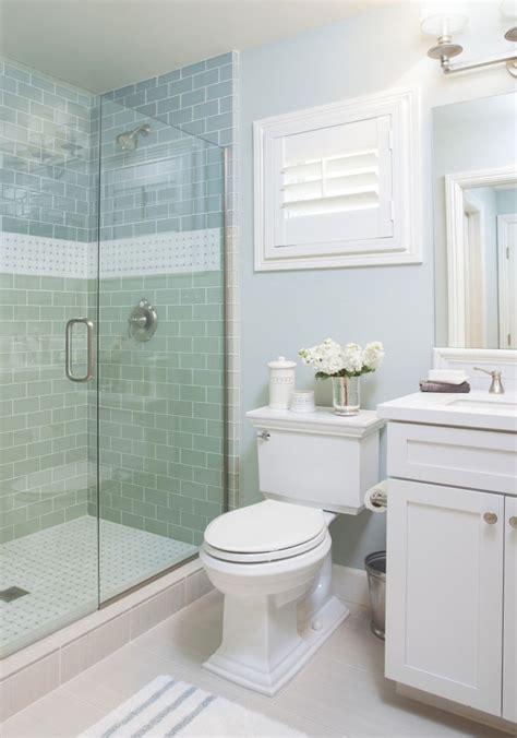Small Bathroom Tile Design by Coastal Bathroom With Aqua Blue Subway Tile Agk Design