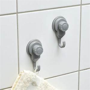 Patère à Suspendre : lot de 2 crochets ventouses gris eminza ~ Teatrodelosmanantiales.com Idées de Décoration