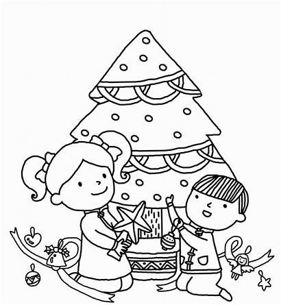 Tree Christmas Coloring Pages Drawing Colour Decorating
