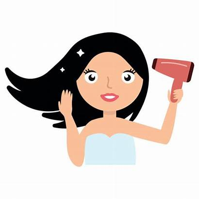Hair Drying Woman Vector Clip Dryer Blowing