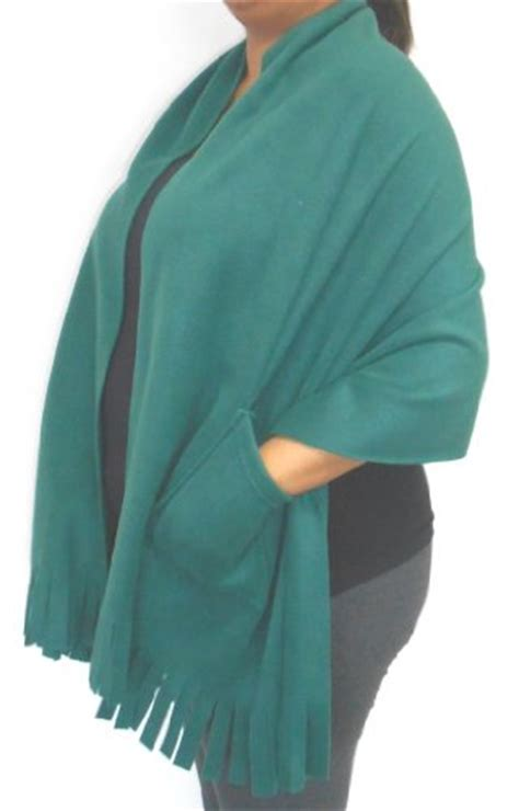 Polar Fleece Fringed Shawl / Wrap / Shoulder Cozy with