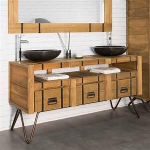 Meuble De Salle De Bain En Solde : meuble sous vasque double vasque en bois mindi massif ~ Edinachiropracticcenter.com Idées de Décoration