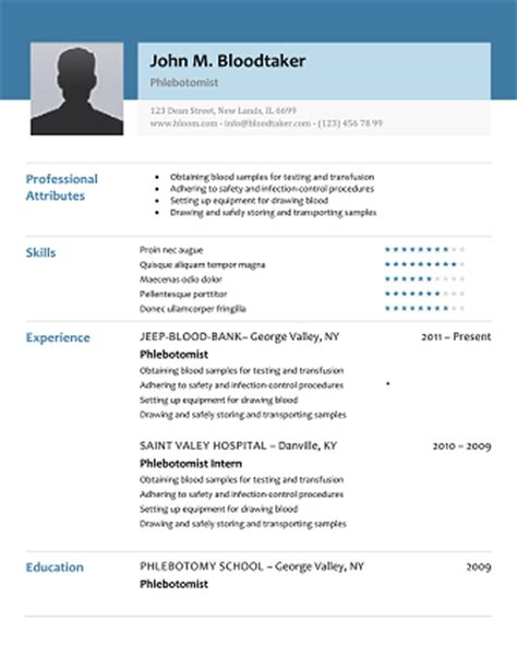 Free Phlebotomy Resume Exles by 10 Professional Phlebotomy Resumes Templates Free