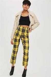 lyst topshop tartan checked trousers in yellow