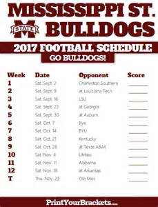 Printable Mississippi State Football Schedule 2017
