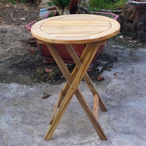 teak folding table for garden patio 60cm diameter