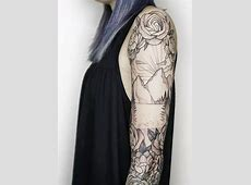 And Black White Sleeve Tattoos Floral 7