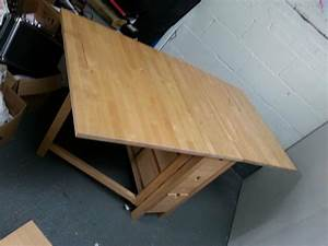 Drop, Leaf, Table, With, Drawer, Storage