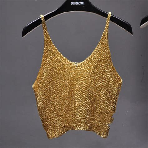 2017 Summer Sleeveless V Neck Bling Bling Knitted Camis