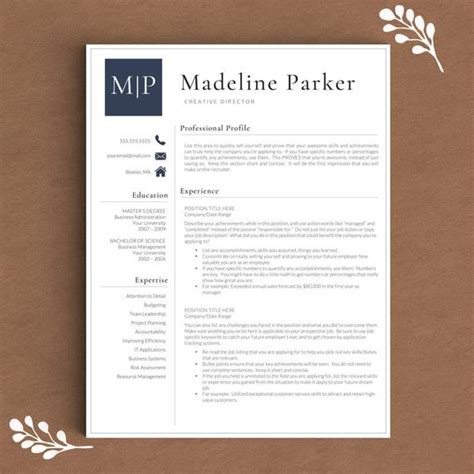 professional resume template  word pages