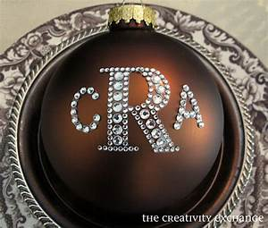 rhinestone monogrammed ornaments and a blinged out holiday With large letter ornaments
