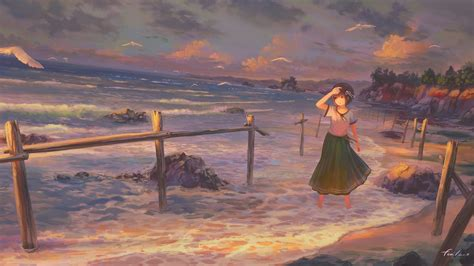女孩子 海岸夕照风景动漫壁纸高清大图预览1920x1080_动漫壁纸下载_彼岸桌面