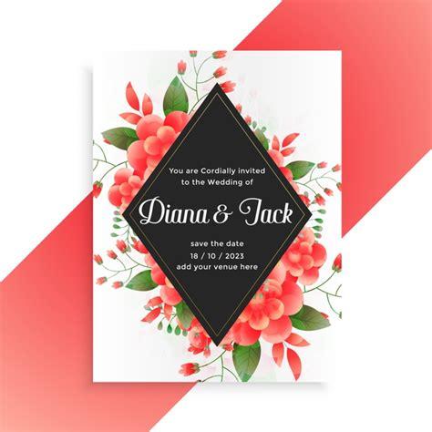 Free Vector Flower decorative wedding invitation card