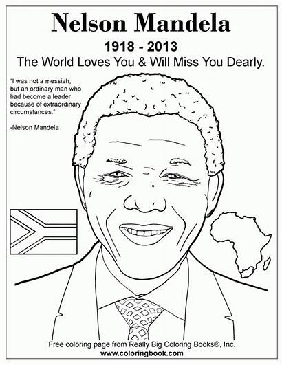 Mandela Nelson Coloring Pages Africa History Sheets