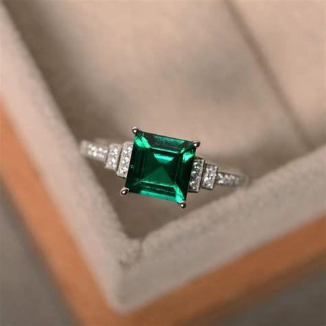 Lab Created Emerald Ring  Ee  Sterling Ee    Ee  Silver Ee   Squcut