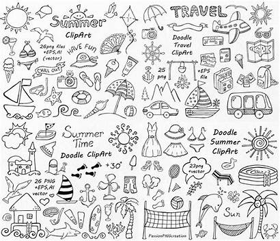Doodle Clip Summer Hand Clipart Drawn Vacation