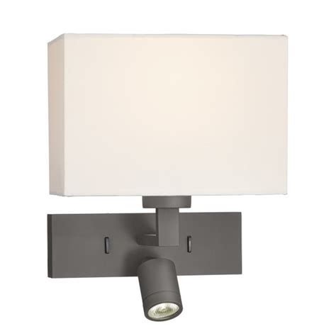 bronze over bed wall light with led reading light for