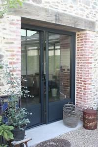 porte fenetre noire by le grenier de ninon http With porte d entrée alu avec parquet flottant pour salle de bain leroy merlin
