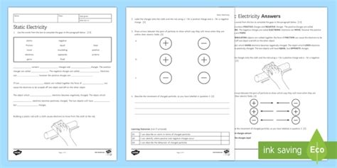 Static Electricity Homework Worksheet  Activity Sheet