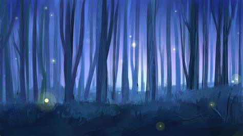art painted landscape forest tree night fireflies hd wallpaper