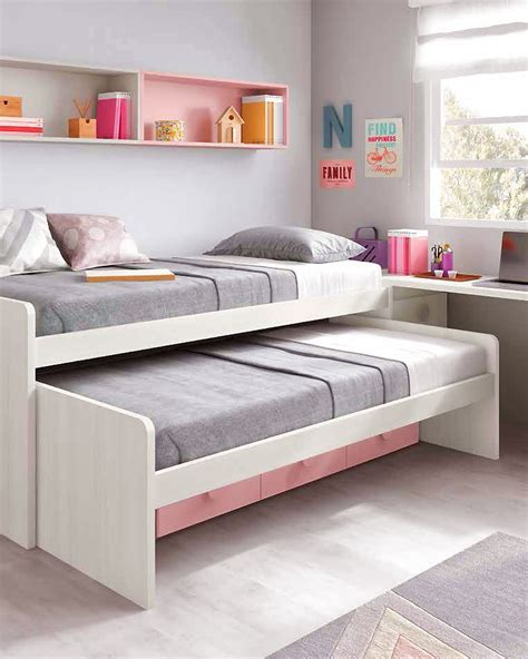 lit gigogne avec bureau chambre ado fille astucieuse avec lit gigogne