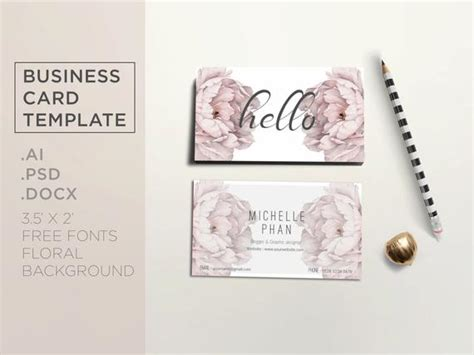 Floral Business Card Template / Elegant Business Card Design Simple Business Card Website Template For Educators Cards Spot Uv Mockup Teacher Make Your Own Wallet Wall Mounted Holder Uk Download Blank Word Realistic-business-cards-mockup-3